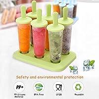 SUFUS Stampi per Gelato, Stampi ghiaccioli Stampi per Gelati 6 Produttori di Ghiaccioli, FDA e BPA Gratis, Ideale per la Preparazione di ghiaccioli, Gelati, sorbetti (Verde) #1