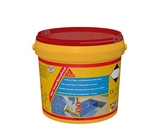 SikaCeram EpoxyGrout, Marfil, Mortero de rejuntado epoxi, de alta resistencia, para baldosas y azulejos con espesores de 2 a 20 mm, para paredes y suelos interior y exterior, 5kg
