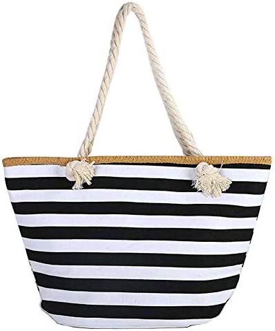 Large Canvas Striped Beach Bag Top Zipper Closure Waterproof Lining Tote Shoulder Bag For Women product image