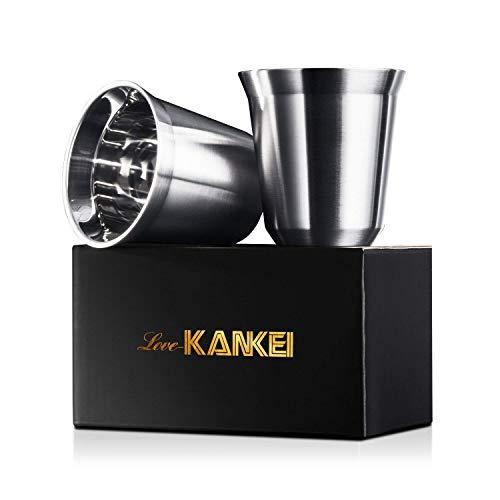 Love-KANKEI Espressotassen Mokkatassen Edelstahl , Doppelwandige Kaffeetassen Espressobecher isoliert spülmaschinefest , 150ml x 2 Stücke