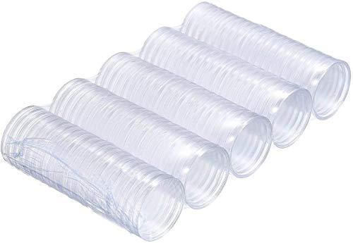 DILISEN 100 Piezas 40 mm de Cápsulas de Monedas de Plástico Funda de Moneda Redonda Contenedor para Materiales de Collección de Monedas con Caja de Papel