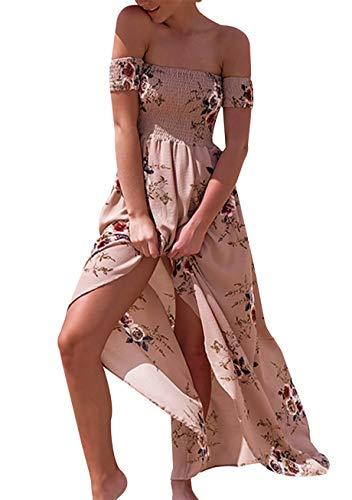 YMING Damen trägerlose Sommerkleider Unregelmäßiger Saum Kleid Sommer Elegant Sexy Kleid, L, Kaki