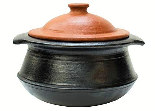 Craftsman India Online Earthen Clay Pot for Cooking and Serving with Lid (2 L, Black)