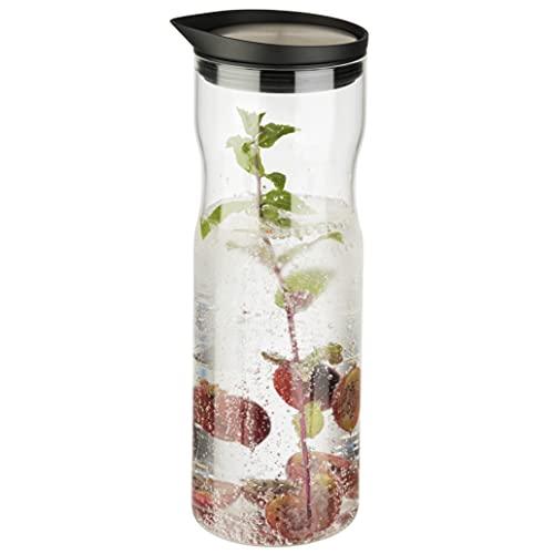 UMI Amazon Brand Wasserkaraffe aus Glas, 1l Fassungsvermögen, mit hochwertigen Edelstahldeckel aus 18/8 Edelstahl und Silikondichtung, ideal für Wasser, Säfte, Tee und andere Getränke