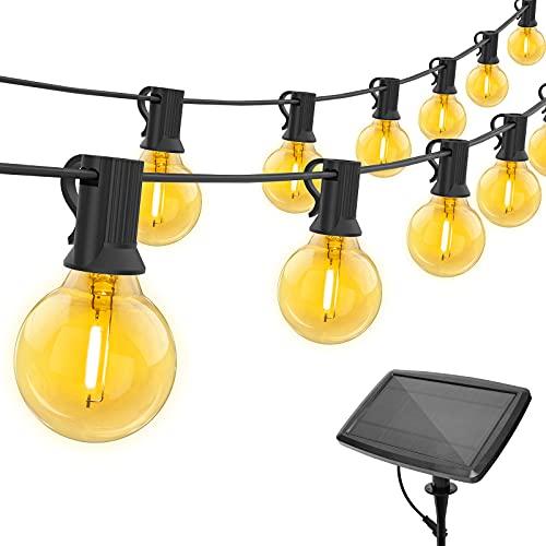 Luces solares de cadena de 50 pies G40 para exteriores con 26 bombillas LED inastillables, 4 modos de iluminación IP44 Luces colgantes para patio trasero, tienda de bistro, pérgola