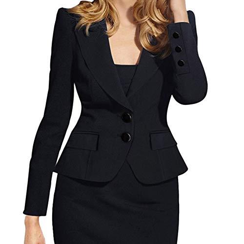 KaloryWee Black Boyfriend Blazer Women Ladies Plain Formal Tailored Blazer Button Up