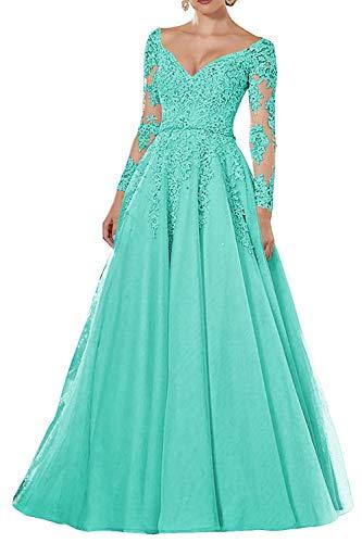 Vintage Abendkleider Lang Spitzen Ballkleider Brautmutterkleider A-Linie Hochzeitskleid Langarm Maxikleider Türkis 32