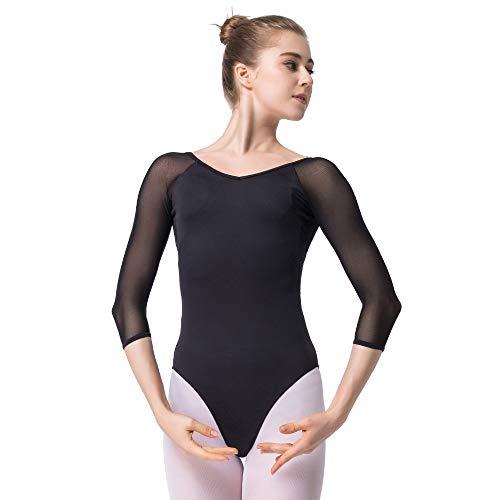 Bezioner Ballettanzug Mädchen 3/4 Arm Gymnastikanzug Damen Trikot Turnanzug Schwarz XXL