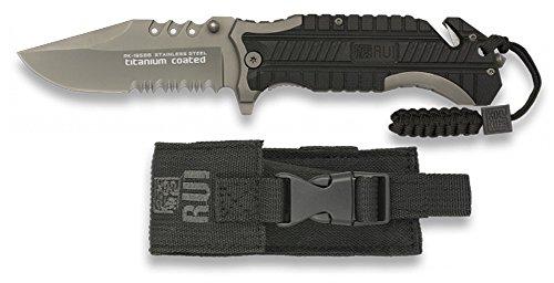 RUI-K25 Taschenmesser, 19586 Für die Jagd, mit 9,5 cm Titanium beschichtete Klinge. Griff aus G10, mit kurzem Gürtel und Bruchglas. Paracord im Griff enthalten