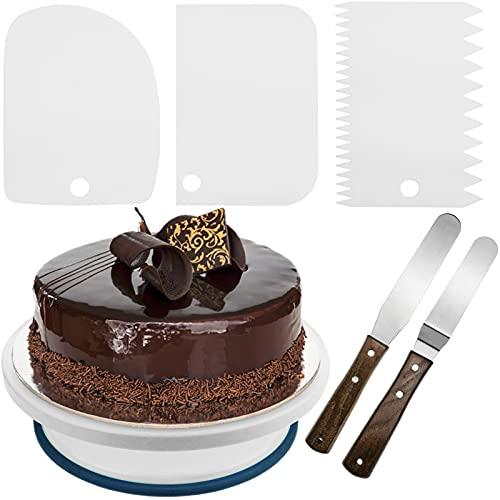 PrimeMatik - Base Girevole per Torte da 28 cm con 5 spatole. Piattaforma Rotante Bianca