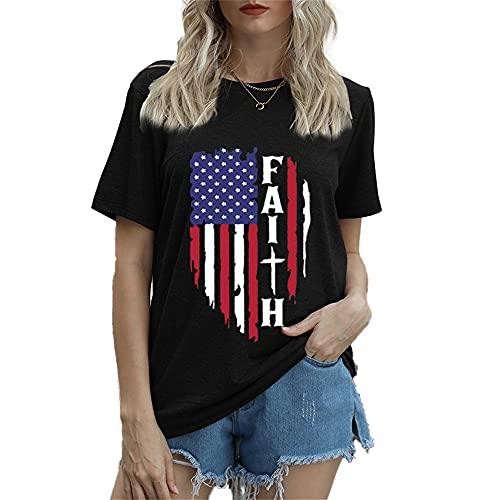 Mayntop Camiseta de manga corta para mujer con diseño de bandera de Estados Unidos, 4 de julio, A-negro, 42