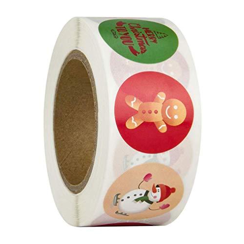 Feliz Navidad pegatinas rollo, 500Pcs Etiqueta Adhesiva Pegatinas redondas, hechas a mano, para Sello Scrapbooking Regalo...