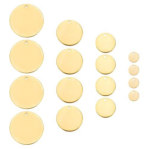 PandaHall 4 tamaños redondos en blanco, etiquetas de grabado de acero inoxidable, 40 piezas de metal estampando espacios en blanco con agujero para pulsera, pendientes, llavero, joyería, dorado