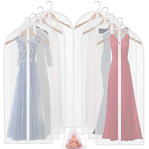 homeminda Garment Bags for Storage 8packs 60in Clear Hanging Moth Proof Lightweight Breathable Dust Covers with Study Full Zipper and Cedar Balls for Long Dresses Gown