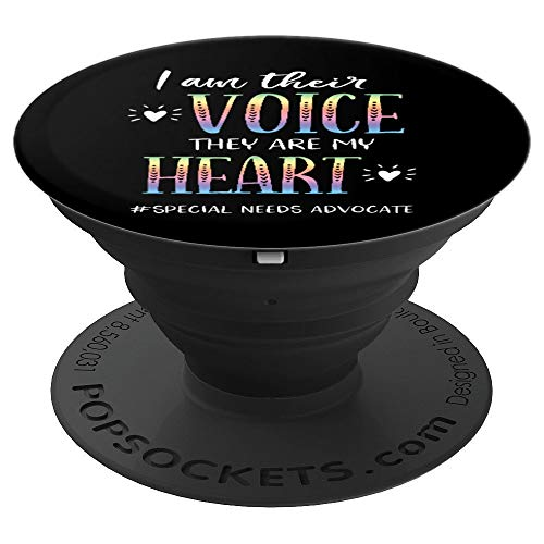 SPED Teacher Special Needs Advocate Gift I Am Their Voice PopSockets Grip and Stand for Phones and Tablets