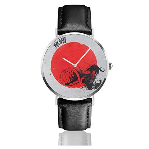 Unisex Business Casual Red Sun Monkey D Luffy One Piece Watch Quarz Leder Armbanduhr mit schwarzem Lederband für Herren Damen Young Collection Geschenk