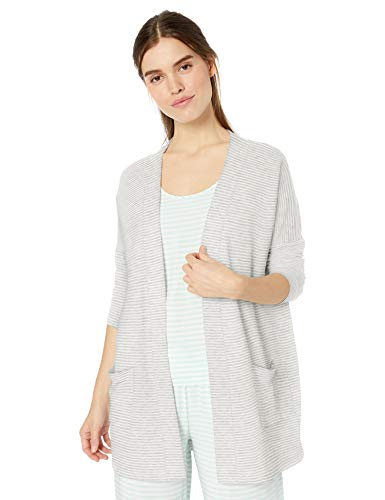 Amazon Essentials Women's Relaxed Fit Lightweight Lounge Terry Open-Front Cardigan , -grey heather stripe, X-Large