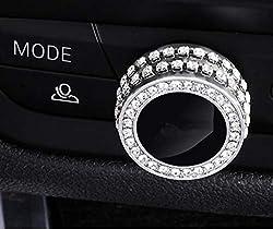 Car Inter Fashion Silver Rhinestone Crystal Decals Cover