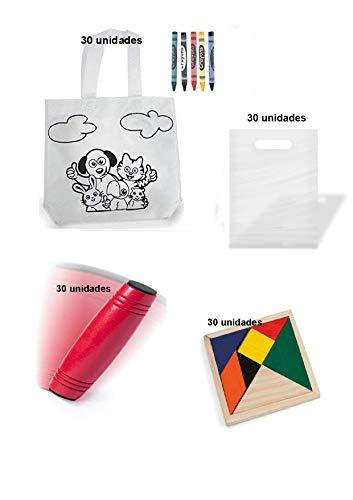 Deliex delicias de Extremadura Fabuloso Lote para cumpleaños 90 Piezas. 30 Bolsas para Colorear + 30 Puzzles ingenio + 30 Juegos Rondux