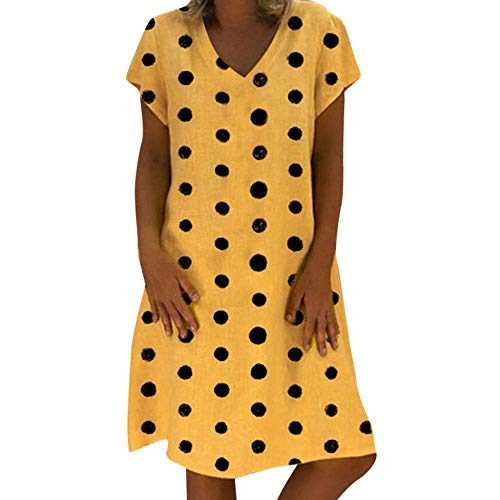 Ts Vrouwen Jurk Dames Kleding Van De Stip V-hals Korte Mouw Dress Zomerjurkjes (Color : A01, Size : S)
