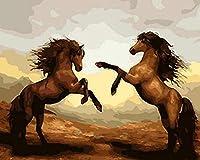 手塗り絵 デジタル油絵 油絵カラフルキット キャンバスの家の装飾の贈り物 40x50cm フレームレス2頭の馬の戦い