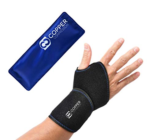 Copper Compression Wrist Ice Pack Wrap. Rapid Hot + Cold Relief Wrist Support Sleeve. Heat + Icing Reusable Therapy Compress Brace. Tendonitis, Carpal Tunnel, Arthritis, Sprained Wrists, Hand Pain