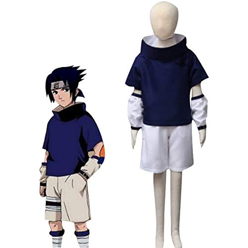 EDMKO Anime Naruto Uchiha Sasuke Cosplay Kostüme Männer Phantasie Party Uniform T-Shirt Outfit Mit Kurze Hose Für Halloween Anime Leistung Kleidung,XS