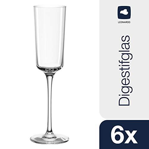 Leonardo Nono Digestif-Glas, Schnaps-Glas mit gezogenem Stiel, spülmaschinenfeste Likör-Gläser, 6er Set,130 ml, 13 cl, 066297