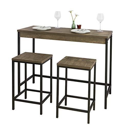 SoBuy OGT30-N Set de mesa y taburetes de estilo industrial mesa alta de bar + 2 taburetes Juego de barra Mesa alta ES