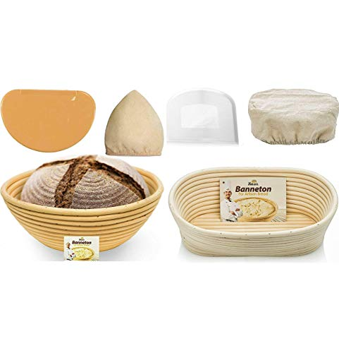 Bread Bosses Round and Oval Bread Banneton Proofing Basket - Proving Baskets for Sourdough Lame Bread Slashing Scraper Tool Starter Jar Proofing Box - Great As A Gift