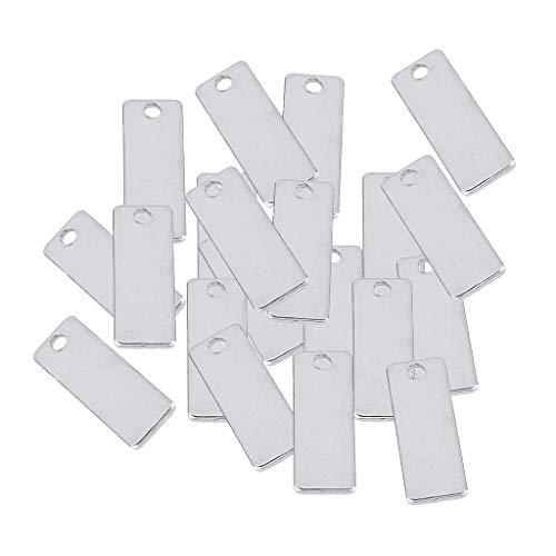 IPOTCH 20pcs Paquete de Placa Etiqueta de Estampado Colgante Plano Rectángulo Accesorios para Proyectos de Manualidades - 18x32mm