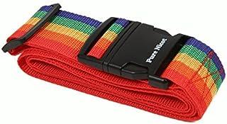 ワンタッチ式 スーツケースベルト 目印 旅行の必須アイテム 旅行用品 旅行便利グッズ (レインボー)
