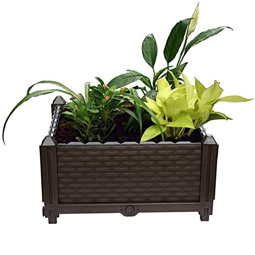Damai Raised Garden Bed Kit Balcony Flower Box in A Poly Rattan Look for Vegetables Herbs Flowers Succulents in Balcony Patio Or Yard 40X40x22cm