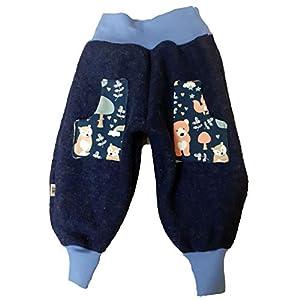 Baby Kinder Wollwalkhose mit Taschen blau Gr. 92-98