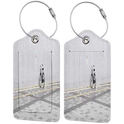 FULIYA - Juego de 2 etiquetas de cuero de alta gama para maletas, identificador de viaje para bolsos y equipaje, para hombres y mujeres, bicicleta, minimalismo, estacionamiento