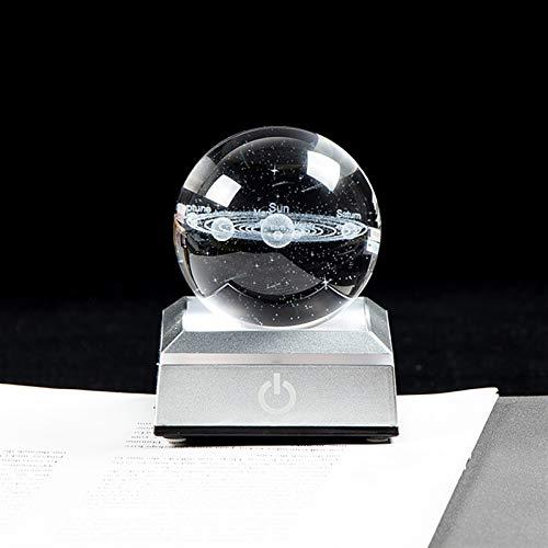 ZZLLFF Nuevo Sistema Solar fantástico Sistema Solar Globe K9 Crystal Ball 3D Grabado Astronomía Planetas Ball Decoración del hogar Modelo cósmico (Color : with Silver LED Base, Size : 6 cm)