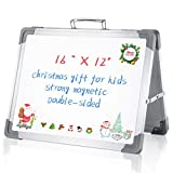 Small Magnetic Dry Erase White Board - LARMHOI 16' x 12' Magnetic Foldable Whiteboard with Double Side & Holder Portable Whiteboard for Kids Drawing Teacher Instruction Memo Board