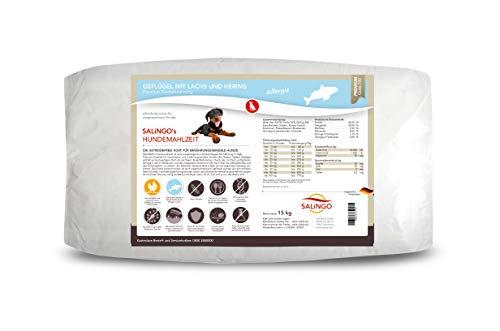 SALiNGO Premium Trockenfutter für Hunde | Geflügel mit Lachs & Hering | getreidefrei | Essentielle Omega Fettsäuren | für Allergien | 15kg