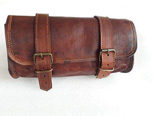 "Genuine Leather Vintage Motorcycle 2 Strap Buckle Closure Tool Bag Brown Handlebar Sissy Bar Tool Pouch Roll Bags -10"""