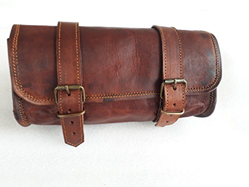 Genuine Leather Vintage Motorcycle 2 Strap Buckle Closure Tool Bag Brown Handlebar Sissy Bar Tool Pouch Roll Bags -10'