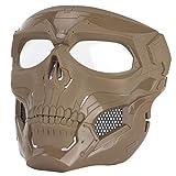 Sensong Paintball Maske mit Schutzbrille Masken Taktische Skull Schutzmaske fur Airsoft Softair Halloween CS Partyspiel Jagd Cospla BK