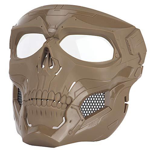 Sensong Paintball Maske mit Schutzbrille Masken Taktische Skull Schutzmaske fur Airsoft Softair Halloween CS Partyspiel Jagd Cosplay Bräunen