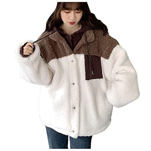 NHNKB Chaqueta de invierno para mujer, de lana, abrigo falso, de dos piezas, forro polar, suave, chaqueta de invierno afelpada, con botones y cremallera, café, XXXL