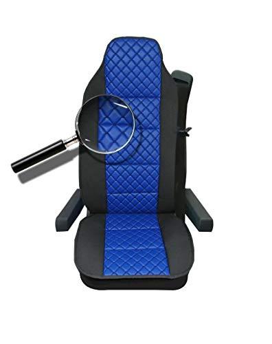 1x Sitzauflage LKW-Sitz Sitzbezug Blau Kunstleder + Polyester Sitzschöner Hochwertig