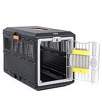 ペットケージ犬箱猫箱犬チェック中ボックス犬ポータブルケージ折りたたみペットボックスポータブルペットボックス (Color : BLACK, Size : 68.6*40.3*47.8CM)