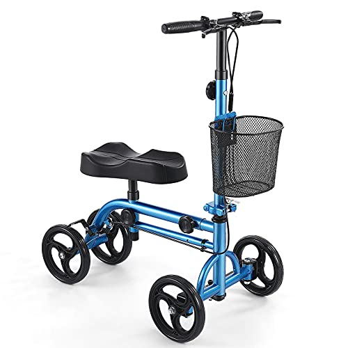 Healconnex Economy Knee Scooter Steerable Knee Walker All-Terrain Foldable Knee Scooters for Foot Injuries Best Crutch Alternative with Attachable Basket and Dual Braking System Blue