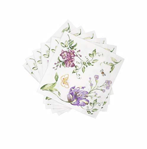 WallyE - Tovaglioli di carta per decoupage, motivo floreale, rosa menta e rosa rossa. Ideali per addii al nubilato, feste di compleanno o matrimoni bianco