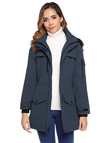 Akalnny winterjas voor dames, warm, lange jas, winterparka met capuchon, maat S-XXL