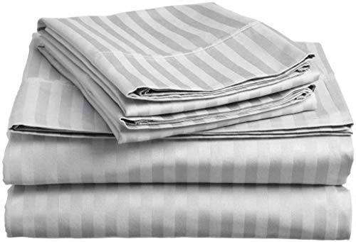 1500 Thread Count Authentic Heavy Egyptian Cotton 6-PCs Sheet Set ( 1 Fitted, 1 Flat, 4 Pillowcase ) Fits Mattress 15-18'' Deep Pocket ( Queen Size ) Best-Bedding Sheets For Bed ( Solid, Silver Grey )