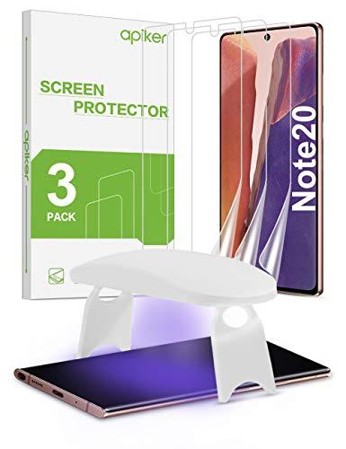 apiker [3 Stück Schutzfolie für Samsung Galaxy Note 20 mit UV-Licht, Samsung Galaxy Note 20 Panzerglas, Displayschutzfolie mit [HD-Transparent],[blasenfrei],[Anti-Kratzen],[hohe Empfindlichkeit]